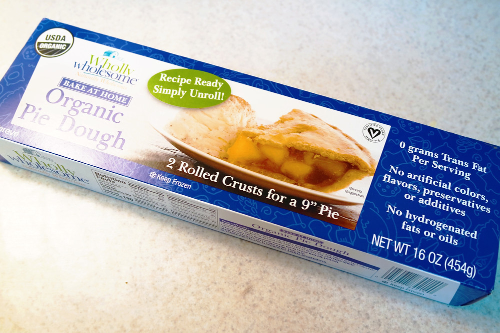 """A box of organic pie dough - 2 rolled crusts for a 9"""" pie."""