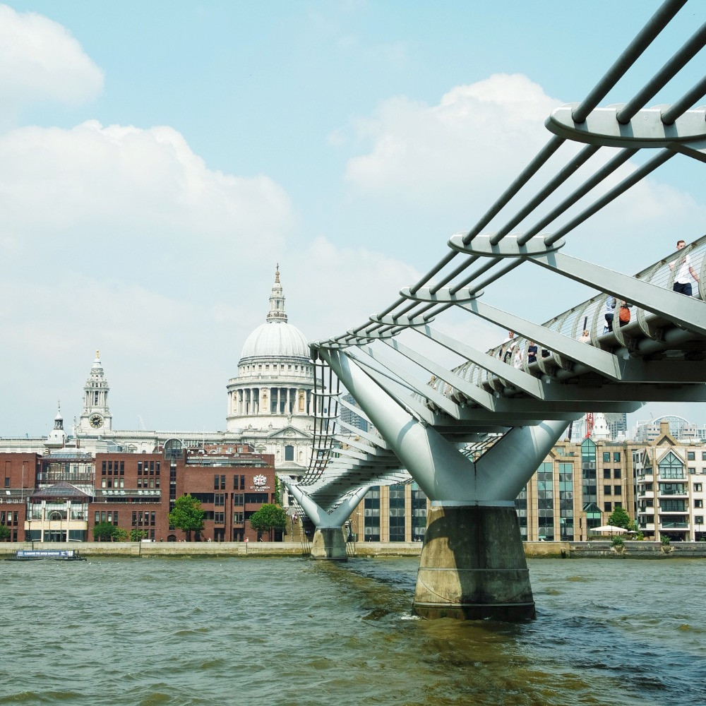 View across the Thames of Millennium Bridge leading to St Paul's Cathedral in London