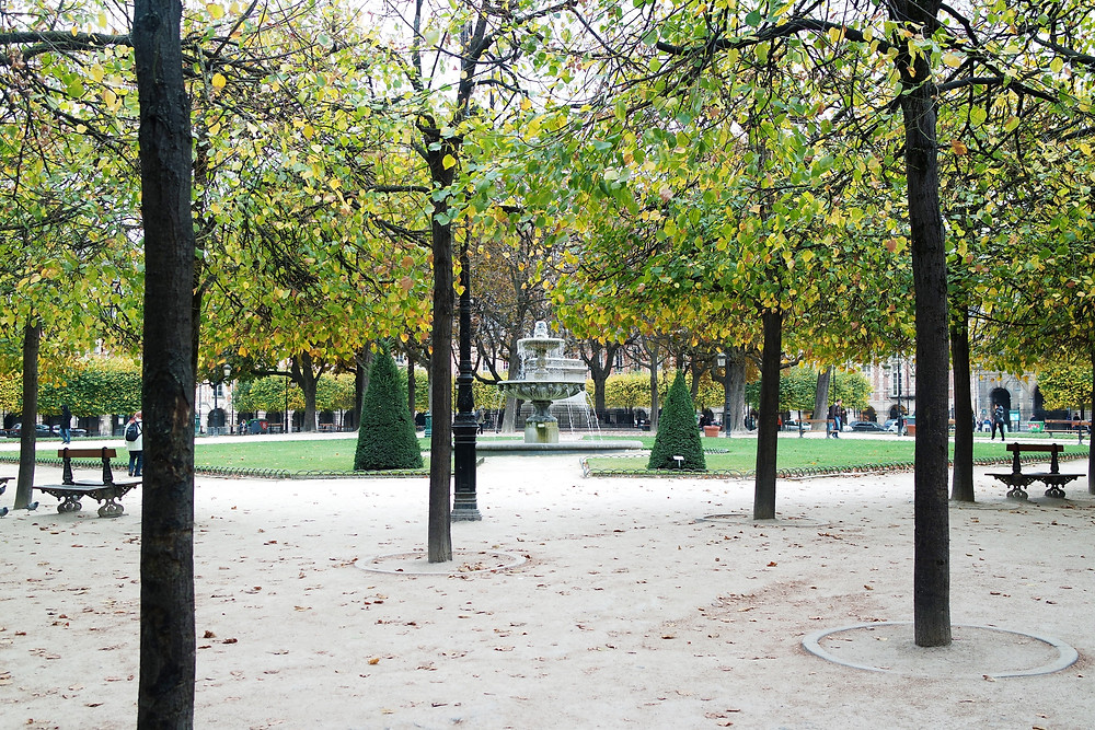 Inside the square of the Place des Vosges, looking at the central fountain through the trees.