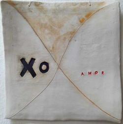 X O porcelain wall hanging