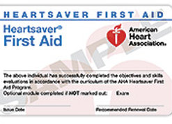 Heartsaver® Firstaid Course Completion Card with book