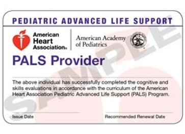 Pediatric Advanced Life Support (PALS) Provider Course Completion Card