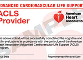 Advanced Cardiovascular Life Support (ACLS) Provider Course Completion Card