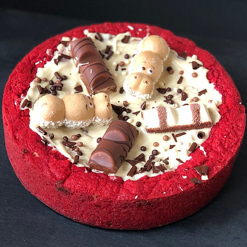 Red Velvet Kinder Cream Cookie Pie