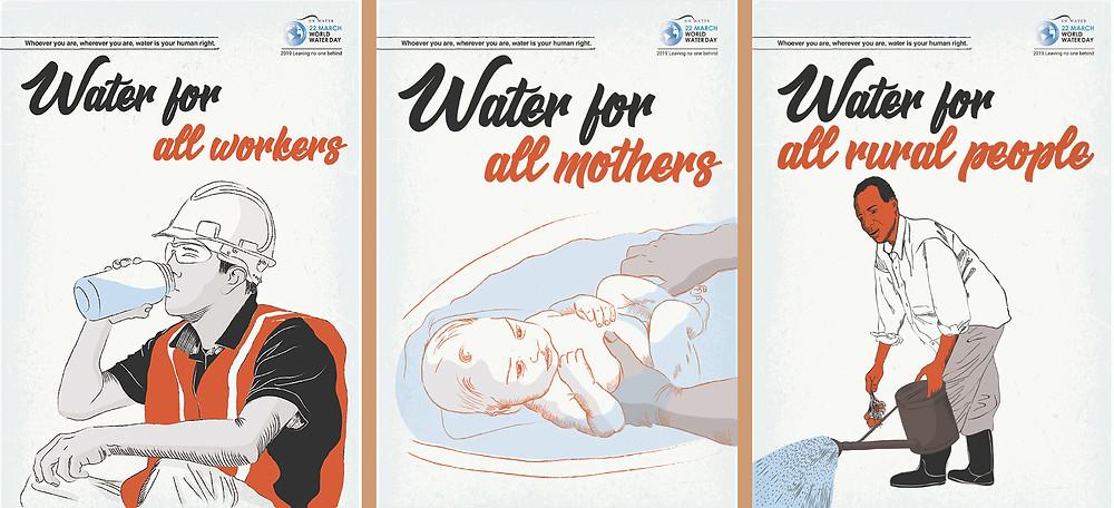 Três imagens que fazem parte da campanha da ONU sobre o Dia Mundial da Água. Na primeira, um trabalhador da construção civil bebe de uma garrafa com água, na segunda um bebe é banhado pela mãe e na terceira um trabalhador da zona rural rega suas plantas