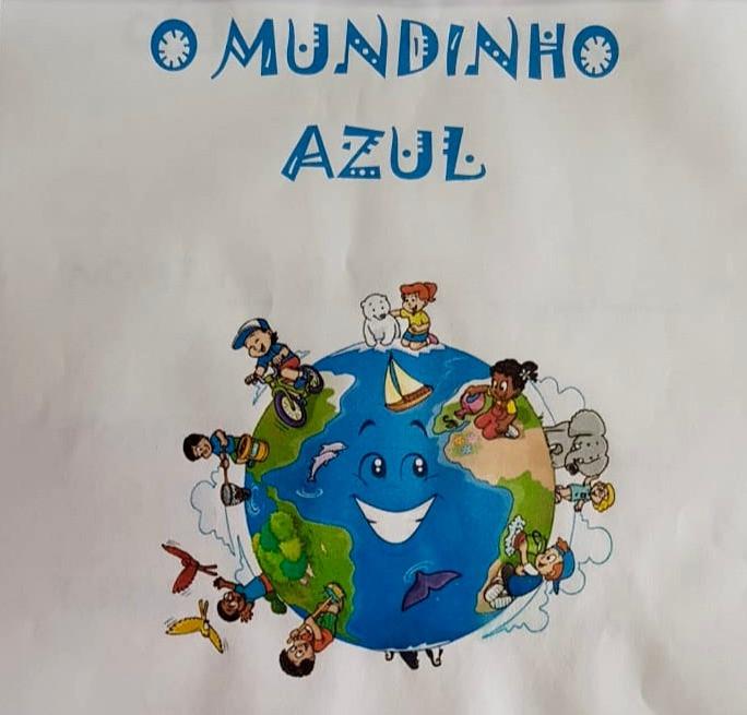 """Arte de Dia Mundial da Água, com o fundo azul, uma nuvem branca com gotas de chuva e os escritos """"Dia mundial da água"""" e """"22 de março"""""""