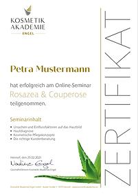 Kosmetik Akademie Engel - Online Seminar Rosazea - Zertifikat