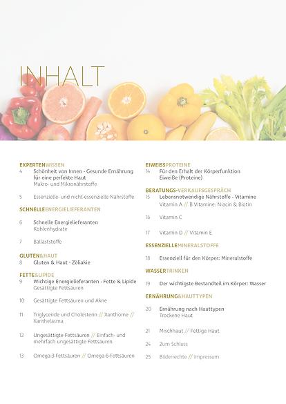 Kosmetik Akademie Engel Kosmetik Guide Ernährung Inhalt