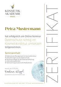 Kosmetik Akademie Engel - Online Semianar Datenschutz Zertifikat