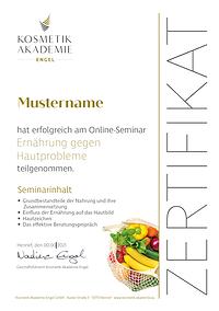 Kosmetik Akademie Engel Zertifikat Ernährung