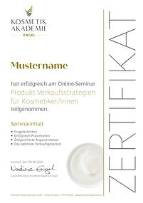 Kosmetik Akademie Engel Zertifikat Produktverkauf