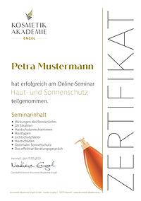 Kosmetik Akademie Engel - Online Seminar Sonnenschutz - Zertifikat