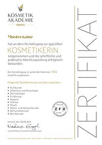 Kosmetik Akademie Engel - Zertifiakt Ausbildung Kosmetiker/in