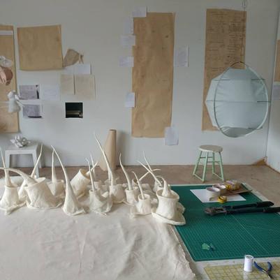 Work in progress at the studio