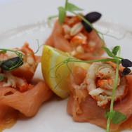 Smoked Salmon,Crayfish,Red Basil, Pea shoots