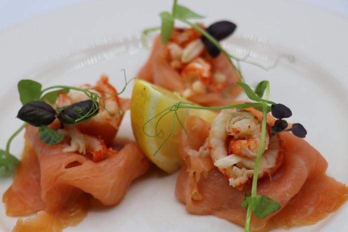 Smoked Salmon,Crayfish,Pea shoots, Red Basil