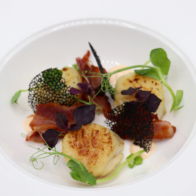 Scallops,Bacon,Squid Ink Crisp,Red Basil,Pea Shoots