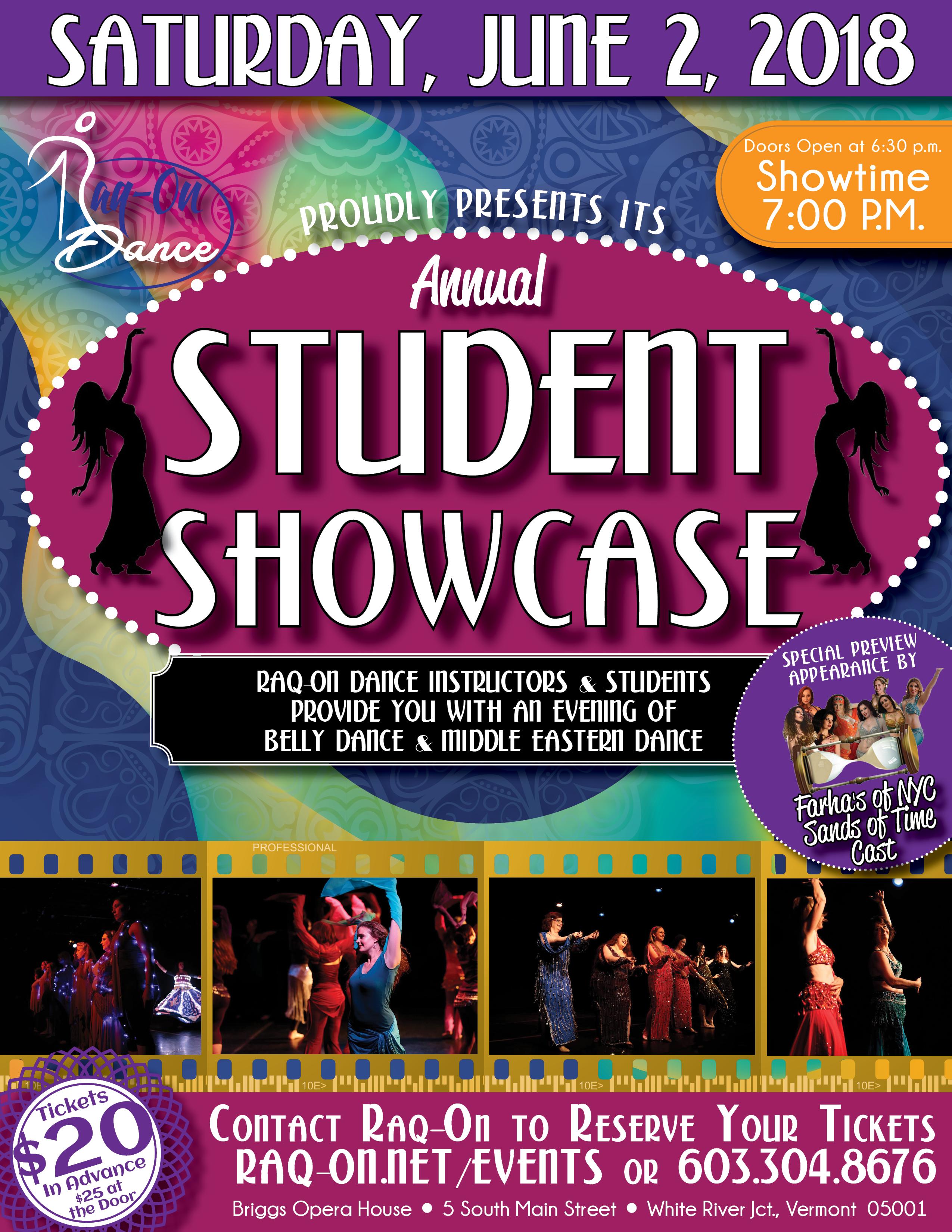 Raq-On Student Showcase Flyer