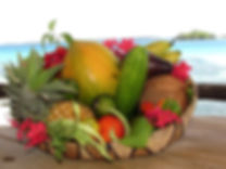 Fresh tropical fruit and vegetables from the garden at the Beach House, Tonga