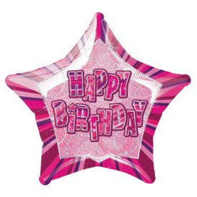 "Balloon Foil 18"" Happy Birthday Pink"