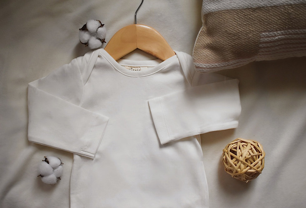Natural Long Sleeve Baby Bodysuit