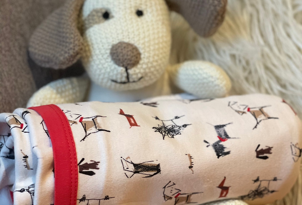 Reversible Dog Print/Sold Red Blanket