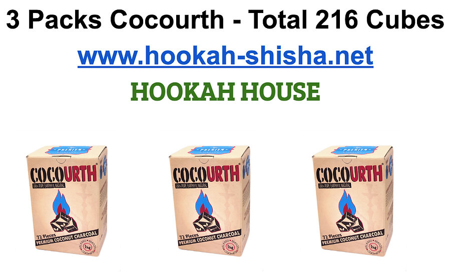 3 Packs Cocourth Natural Hookah CharcoalTotal 216 cube
