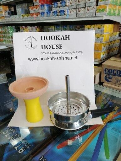 Clay Silicone Hookah bowl + Metal Shisha Charcoal Holde