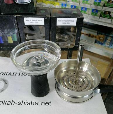 Glass Silicone Hookah bowl + Metal Shisha Charcoal Holder Hookah
