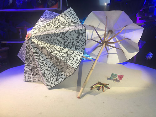 DIY Cardboard Coloring Umbrella Patterns and Instructions PDF