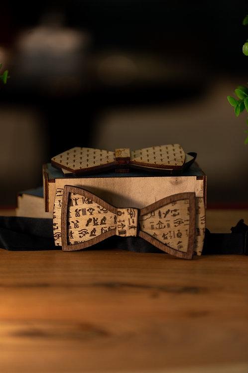Hieroglyphic Wooden Bow Tie