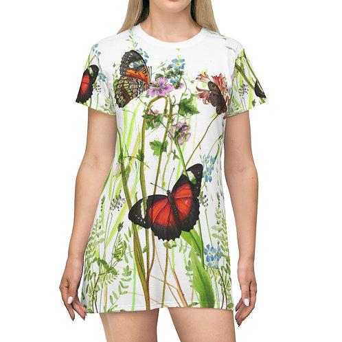 Vintage Butterfly Garden Print-AOP T-shirt Dress