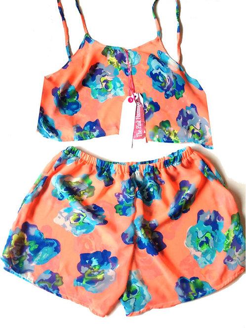 Orange and Blue Bold Floral Chiffon Nightwear Set