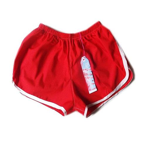 Red Lightweight Cotton Sports Shorts