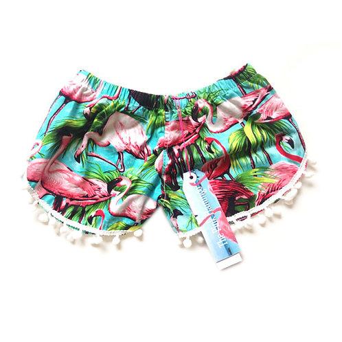 Children's Green Flamingo Pom Pom Shorts