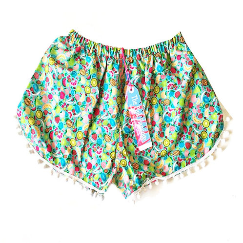 Turquoise Fruit Cocktail Print Pom Pom Shorts
