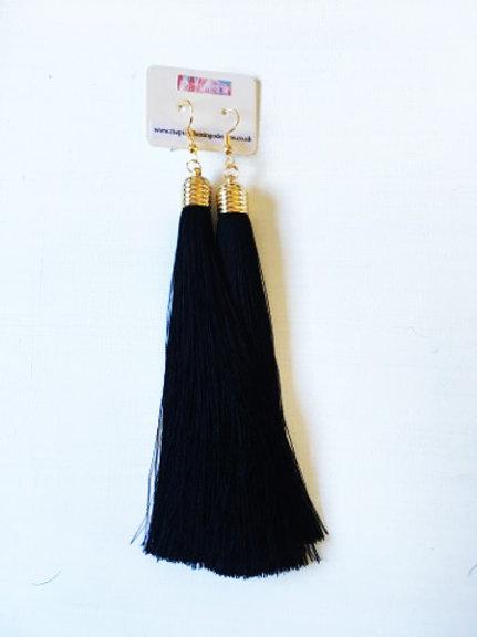 Long Tassel Drop Earrings - Black