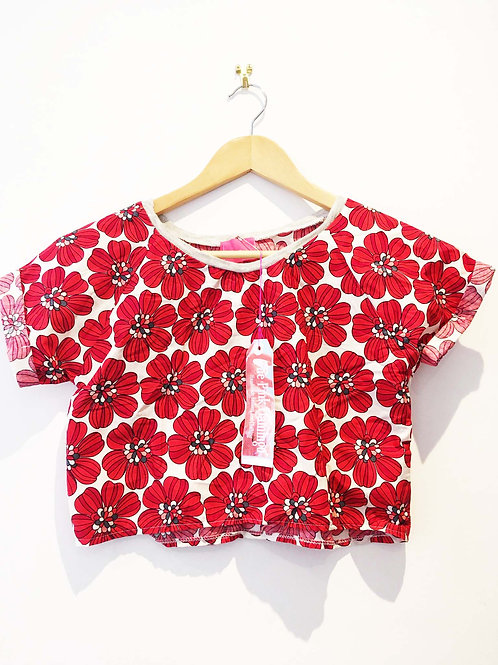 Retro Red Floral Boxy Fit Tee