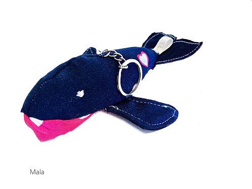 MALA Handmade Upcycled Denim Whales Keyring for SEDNA Fundraiser