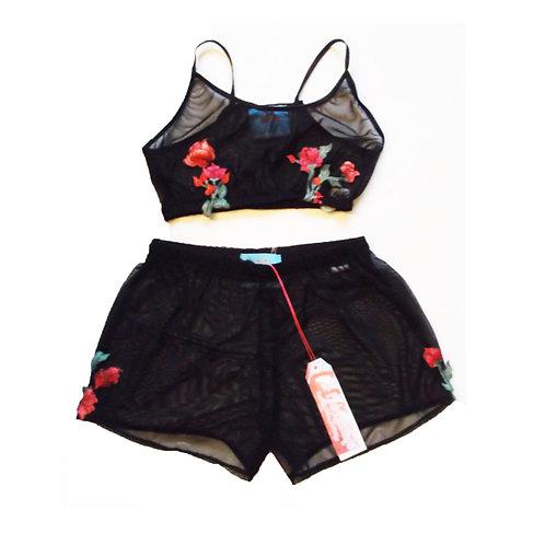 Black Mesh and Vintage Rose Applique Bralet and Shorts Set