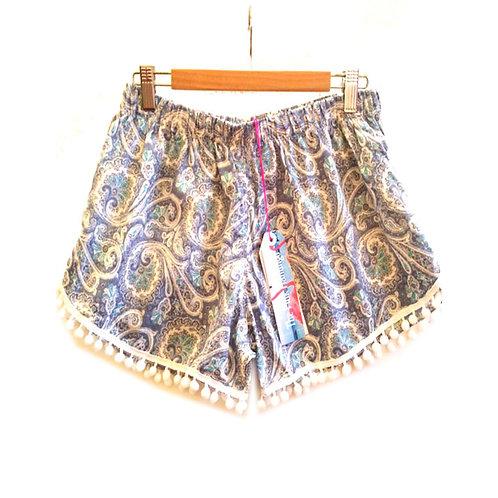 Pale Blue Paisley Print Pom Pom Shorts