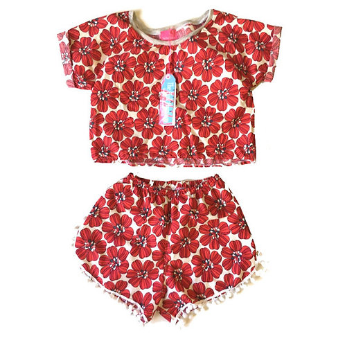 Red Retro Floral Raglan Tee and Pom Pom Shorts Set