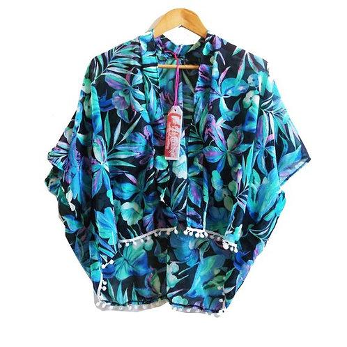 Turquoise and Black Floral Print Pom Pom Trim Kimono