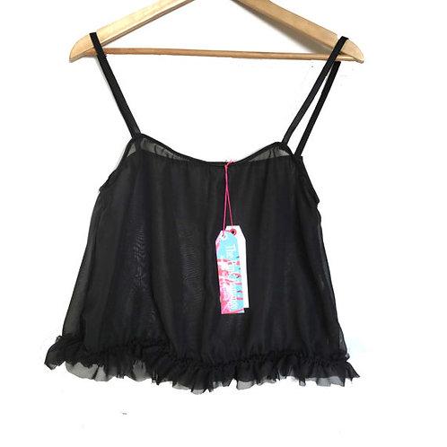 Black Chiffon Frill Camisole