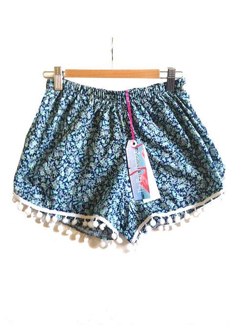 Pretty Blue Ditsy Print Floral Pom Pom Shorts