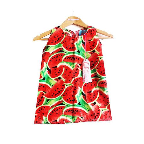 Girl's Watermelon Print Cotton Dress