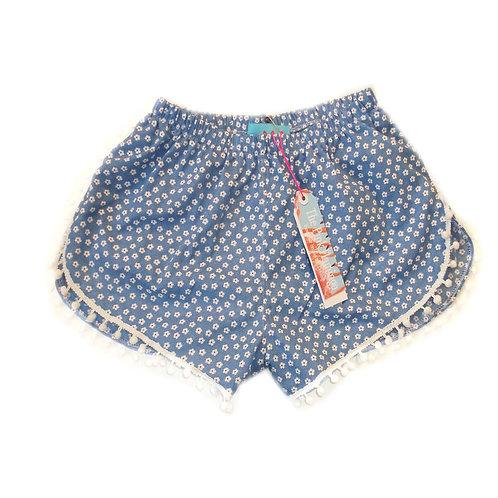 Pale Blue Ditsy Print Pom Pom Shorts