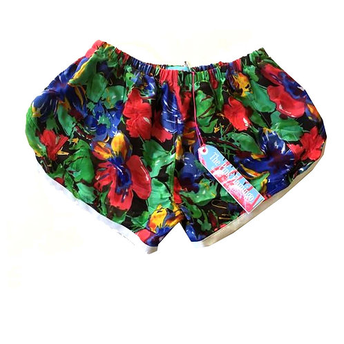 Black and Red Retro Floral Print Sports Shorts