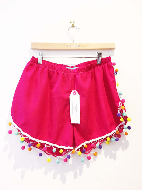 Hot Pink Shorts with Bright Rainbow Pom Poms