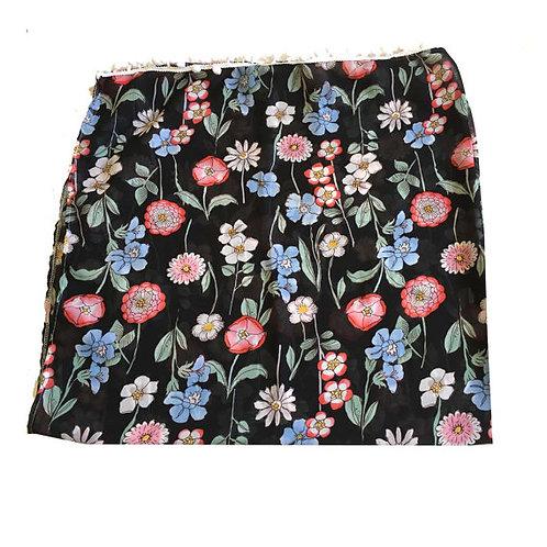 Black Vintage Floral Print Pom Pom Scarf